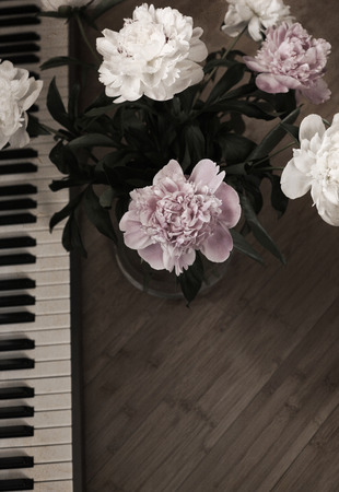 Artwork in retro painting style, peonies and piano