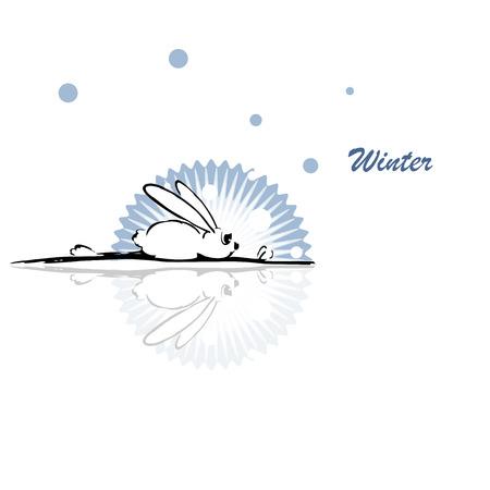 Vector illustration, funny rabbit, winter