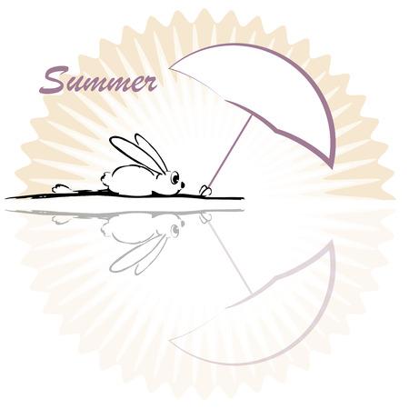 Vector illustration, funny rabbit, summer
