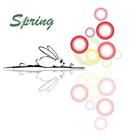 Vector illustration, funny rabbit, spring