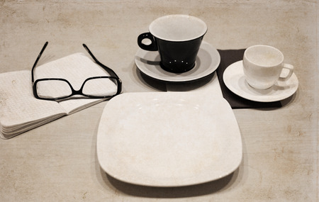 Artwork in retro style,  cups of coffee, glasses, empty plate