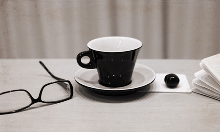 Artwork in retro style,  cup of coffee, glasses, cherry Stock Photo