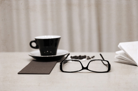 Artwork in retro style,  cup of coffee, glasses, coffee beans Stock Photo