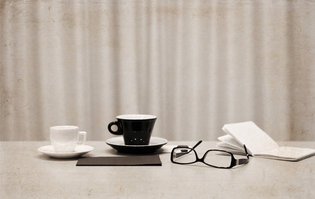 Artwork in retro style,  cups of coffee, glasses