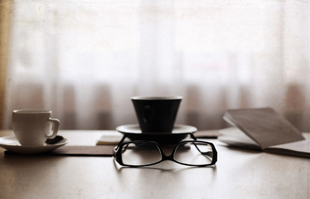 Artwork in retro style,  cup of coffee, glasses