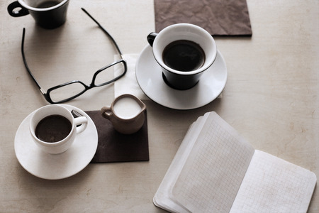 Artwork in retro style,  cup of coffee, glasses, milk
