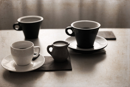 Artwork in retro style,  cups of coffee, milk Stock Photo