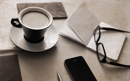Artwork in retro style,  cup of coffee, glasses, notebook