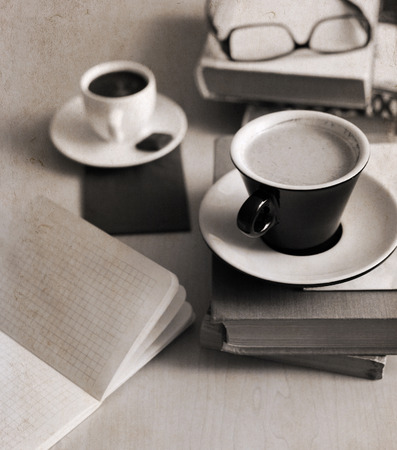 closeup; cafe; table; glasses; caffeine; white; brown; coffee; beverage; drink; latte; cup; breakfast; old; morning; black; opened; fashion; dark; energy; espresso; artwork; up; retro; cool; texture; painting; art; stylish; cappuccino; style; vintage; bac