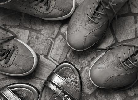 Monochrome image, womens shoes Stock Photo