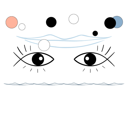 Vector illustration, surreal, eyes-fishes, smile Illustration