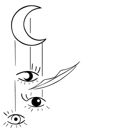Vector illustration, surreal, moon, eyes, smile