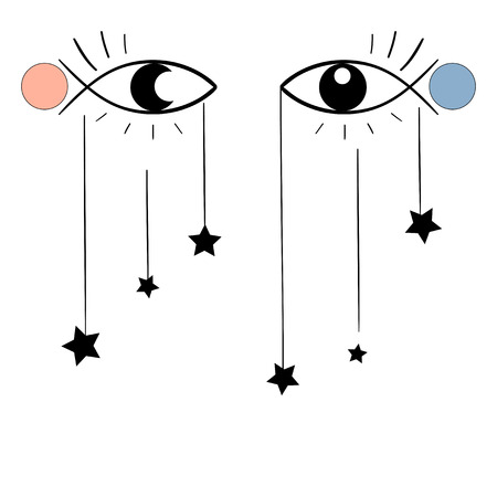 Vector surreal illustration, eyes, stars
