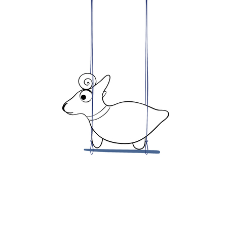 Vector illustration, little goat playing on a swing