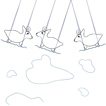 Vector illustrations, three goats playing on a swing in sky Illustration