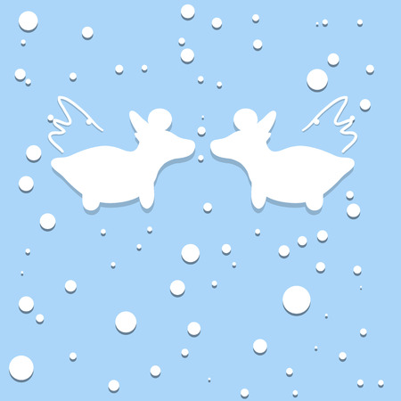 Vector illustrations, two angels goats, winter, snow