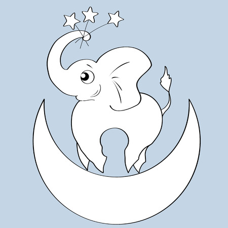 A Vector illustration, elephant on the moon, stars