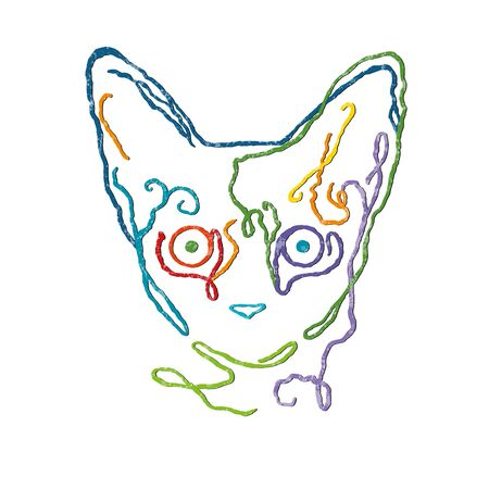 Vector drawing illustration/ simple line design/ bright colors/cute cat/ white texture Vettoriali