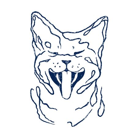Funny cat laughing/ Vector drawing illustration/ simple line design/white texture