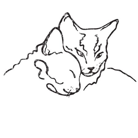 Vector drawing illustration/ simple line design/ two cute cats together/ love Vettoriali