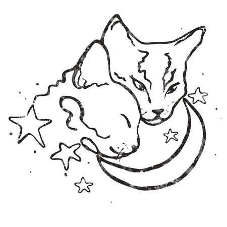Two cute cats together/moon and stars/ love Vettoriali