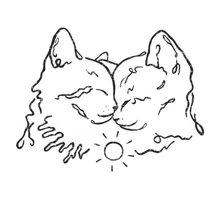Vector drawing illustration/ simple line design/ two cute kittens together/ love Vettoriali