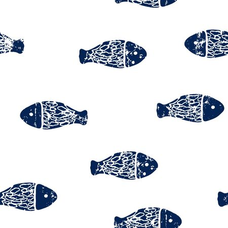 seamless vector illustration, fishes, white texture, marine life