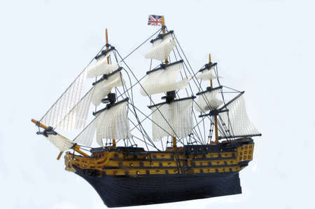 closeup of a toy ship in a white background Stock Photo