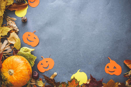 Halloween festive still life. compositions from real small pumpkins, pumpkins cut out of cardboard, autumn leaves and knobs Stock Photo