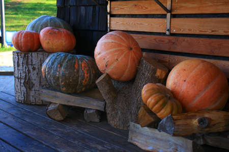 On the eve of Halloween, pumpkins near the house are decorated with pumpkins.