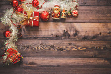 Christmas's decoration on a wooden table, great for background on greeting cards, desktop, web Banco de Imagens