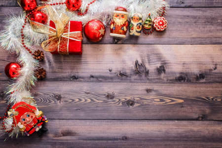Christmas's decoration on a wooden table, great for background on greeting cards, desktop, web 版權商用圖片