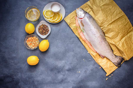 Raw fish with seasonings. Raw hefty such raw fish on craft paper on a gray tabletop lemon pepper oil seasoning lemon slices with salt.