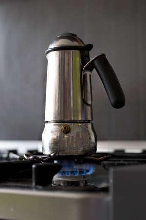 with coffee maker: Italian coffee maker Stock Photo