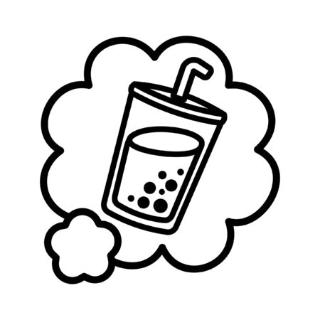 Simple cute milk tea in a speech bubble outline cartoon vector illustration menu logo icon
