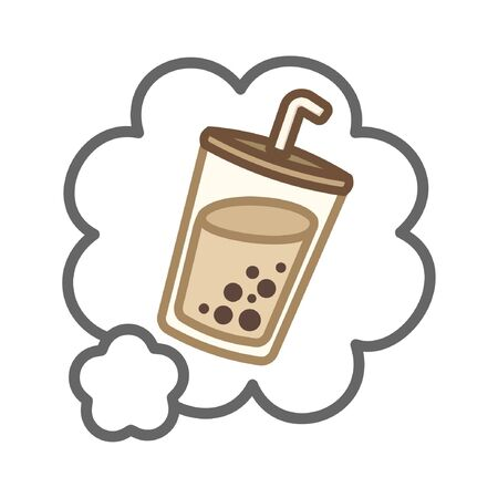 Simple cute milk tea in a white speech bubble cartoon vector colored illustration menu logo icon
