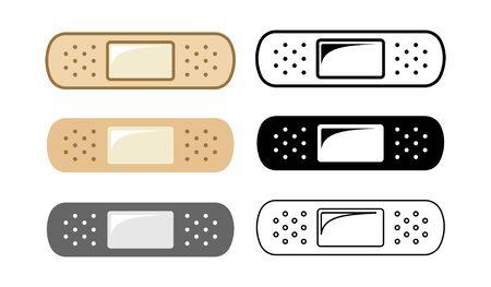 Adhesive elastic plaster bandage design set of 6. Simple vector illustration icon logo sign symbol representation for medical needs or care, first aid, doctor, nurse, hospital, etc.