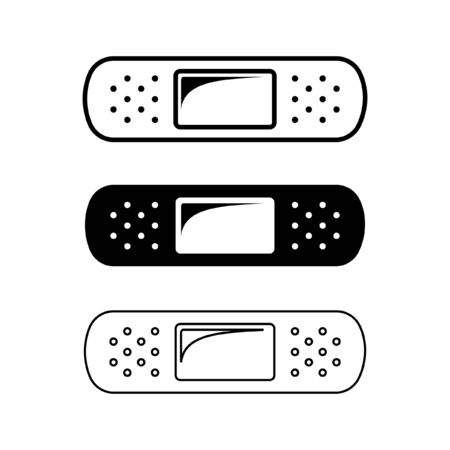 Adhesive plaster bandage design black and white silhouette outline set. Simple vector illustration icon logo sign symbol representation for medical needs or care, first aid, hospital, etc. Иллюстрация