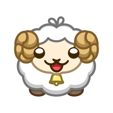 Cute simple happy fluffy sheep cartoon icon illustration. Symbol or logo for animal rights, cruelty free, farming and agriculture. Иллюстрация
