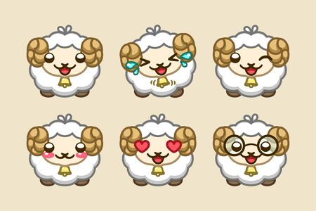 Adorable cute fluffy sheep showing a variety of happy expressions icon set. Simple emoji set illustration. Cartoon or symbol for animal care, rights, farming and agriculture.