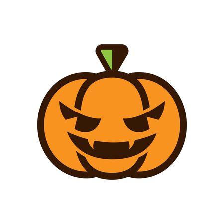 Scary spooky evil halloween pumpkin icon. Simple flat vector illustration Иллюстрация
