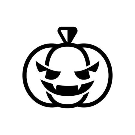 Scary spooky evil Halloween pumpkin icon. Simple flat vector illustration.