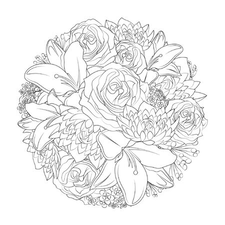 Bouquet of Flowers made up of roses, lilies and other floral matters Coloring Book Page. Line Art Printable Illustration for adults.