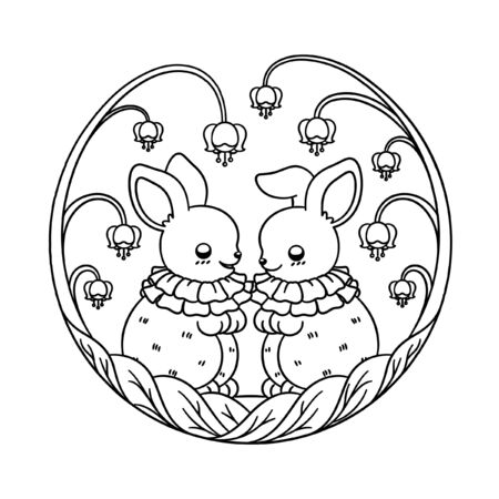 Forest fantasy rabbit friends having fun surrounded flowers and leaves cartoon vector illustration. Easter bunny friends children, kids or adult coloring book page.