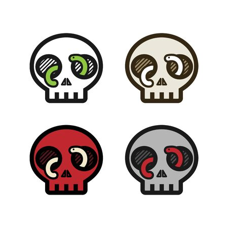 Human skull with worm or snake coming out of the eye holes simple icon logo set. Horror creepy death poison warning danger symbol. October, Halloween, Oktoberfest, Witchcraft.