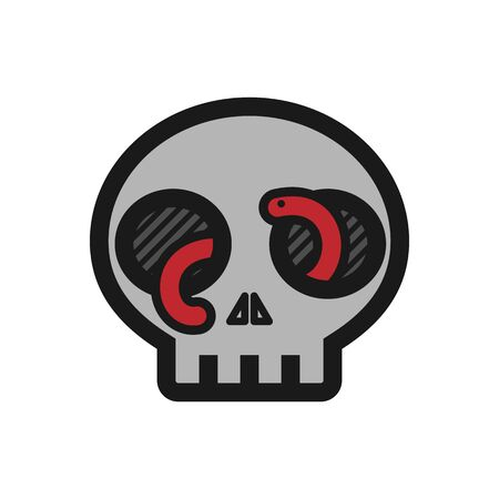 Grey skull with red worm coming out of its eyes simple vector illustration. Horror creepy death poison warning danger logo icon symbol. October, Halloween, Oktoberfest, witchcraft.