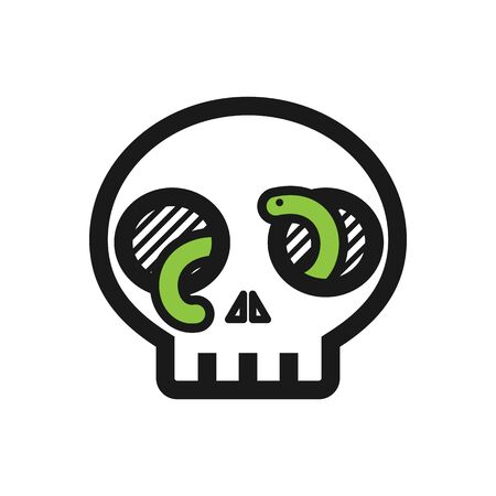 White skull with green worm coming out of its eyes simple vector illustration. Horror creepy death poison warning danger logo icon symbol. October, Halloween, Oktoberfest, Witchcraft.