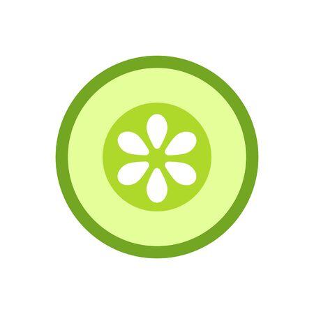 Sliced cucumber simple colored vector logo icon flat illustration design