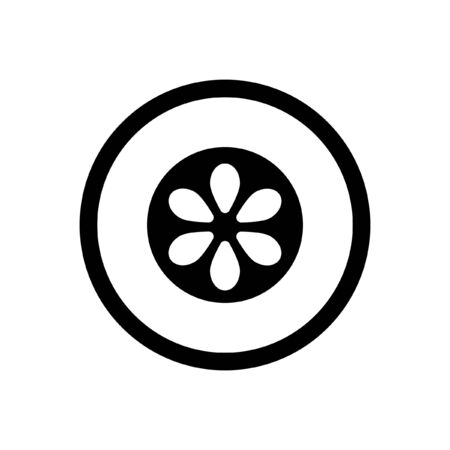 Sliced cucumber simple outline black and white vector logo icon illustration