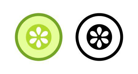 Sliced cucumber simple vector logo flat icon illustration design. Colored and outline line art set